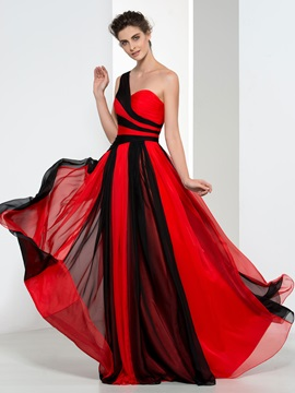 Amazing One Shoulder Pleats A Line Long Evening Dress