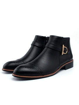 Black Buckles Square Heel Boots
