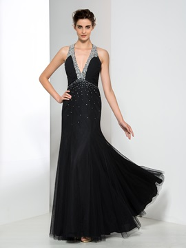 Modern V Neck Beading Sequin Black Evening Dress
