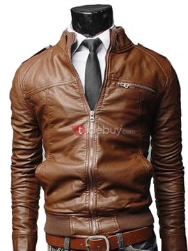 Chest Faux Zip Pocket Decorated Solid Color Mens Jacket