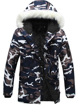 Camouflage Printing Hooded Warm Mens Down Coats