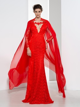 Fashionable V Neck Long Sleeves Red Lace Evening Dress
