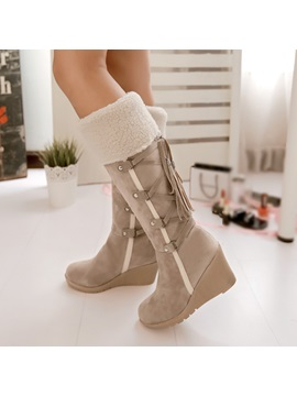 Pu Lace Up Back Wedge Heel Snow Boots