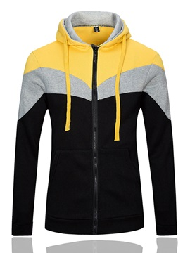 Color Block Zip Lace Up Slim Fit Mens Hoodie