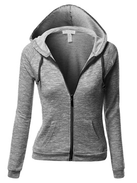 Chic Color Zipper Short Hoodie