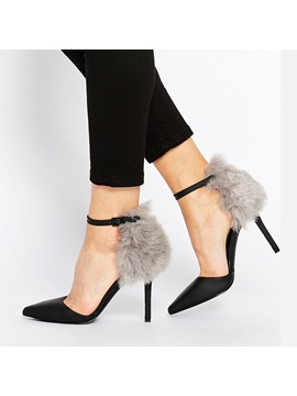 Faux Fur Ankle Strap Stiletto Heel Pumps