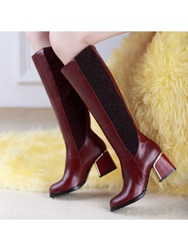 Pu Square Heel Knee High Boots