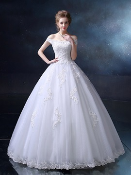 Floor Length Ball Gown Wedding Dress Sequin Beaded Off The Shoulder Wedding Gown