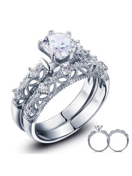Diamond Shaped Decorated 925 Sterling Silver Womens Wedding Ring Set
