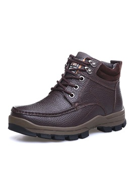 Round Toe Lace Up Mens Boots