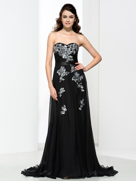 A Line Sweetheart Appliques Black Evening Dress