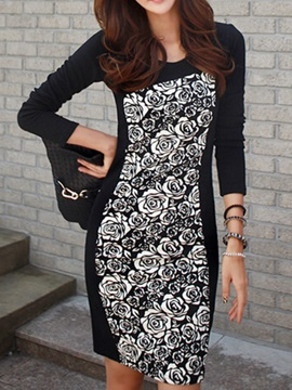 Chic Round Neck Long Sleeve Day Dress