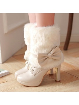 Bowtie Faux Fur Lace Up Booties