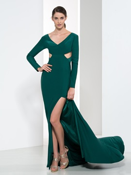 Elegant V Neck Long Sleeves Hollow Split Front Evening Dress