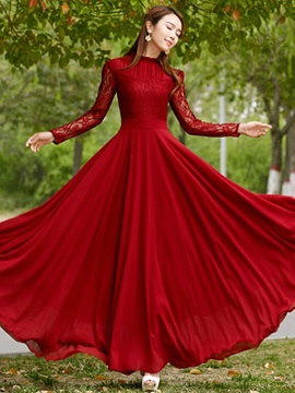 Lace Patchwork Long Sleeve Womens Maxi Dress