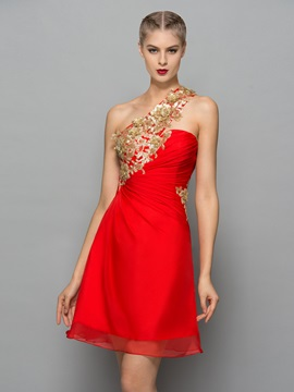 Chic One Shoulder Sequins Appliques Short Cocktail Dress