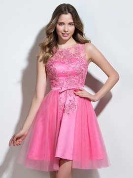 Straps A Line Appliques Bowknot Short Homecoming Dress