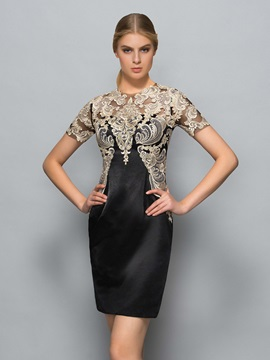 Classy Short Sleeve Appliques Short Cloumn Formal Dress