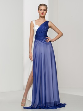 Modern Straps Pleats Split Front Long Evening Dress