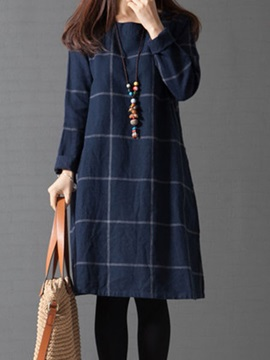 Dark Blue Round Neck Plaid Womens Long Sleeve Dress