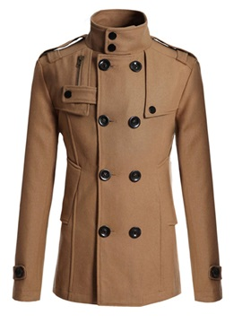 Solid Color Double Breasted Stand Collar Mens Coat
