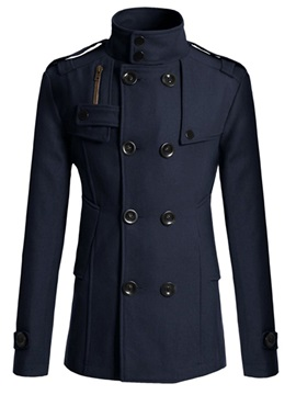 Tidebuy Plain Double Breasted Stand Collar Mens Coat