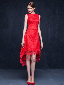 Fancy Bateau Neck Red Lace High Low Cocktail Dress