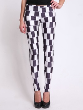 Slimming Mid Waist Plaid Print Leggings