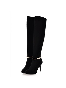 Black Suede Side Zip Knee High Boots