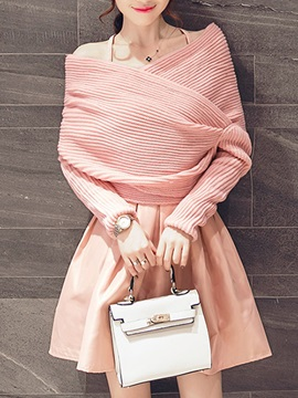 Elegant Asymmetric Sweater Pleated Skirt