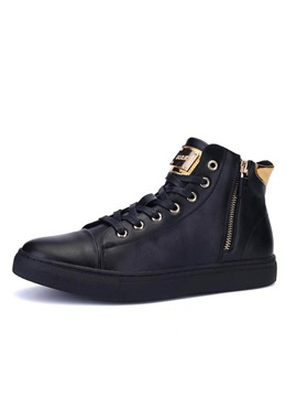 Punk Style Pu Zippered Mens Sneakers