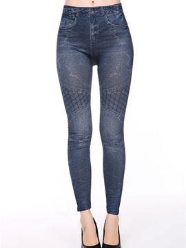 Casual Polyester Plaid Decorated Leggings