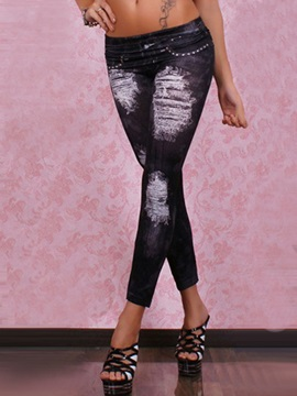 Skinny Hole Designed Leggings