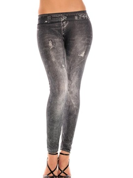 Plain Polyester Hole Print Leggings