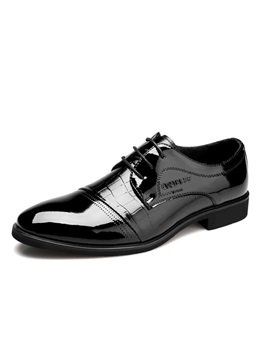 Embossed Round Toe Lace Up Dress Shoes