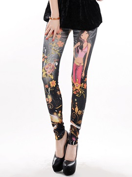 Cartoon Printing Polyester Leggings