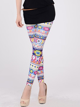 Colored Geometrical Printing Ninth Length Leggings