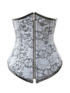 Floral Pattern Lace Up Front Zipper Corset