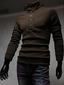 Plain Turtleneck Buttons Decorated Mens Pullover Sweater