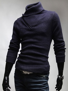 Oblique Zipper Decorated High Collar Mens Pullover Sweater
