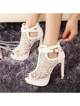 Peep Toe Lace Hollow Prom Shoes