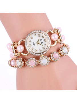 Double Deck Rhinestone Decorated Womens Watch