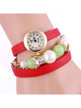 Multi Layer Beads Decorated Round Dial Womens Watch