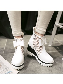 Bowknots Mesh Patchwork Wedge Boots