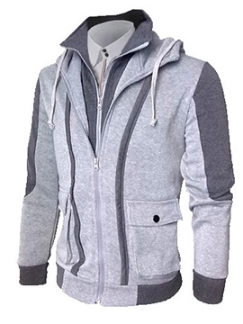 False Two Color Block Mens Cardigan Hoodie With Hat