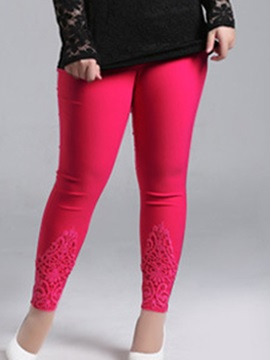Plus Size Lace Designed Patchwork Leggings