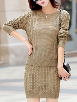 Elegant Pure Color Sweater Sheath Skirt