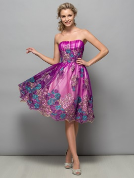 Fancy Strapless Appliques Knee Length Homecoming Dress