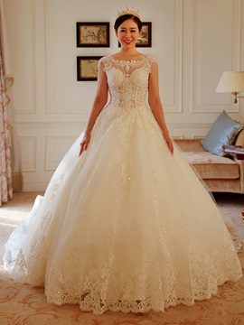 Beaded Lace Appliques Open Back Ball Gown Wedding Dress With Train