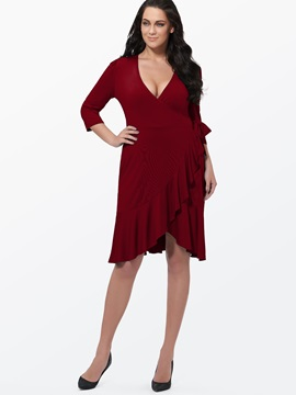 Solid Color V Neck Plus Size Womens Day Dress